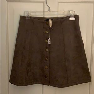 Faux suede mini skirt with button front